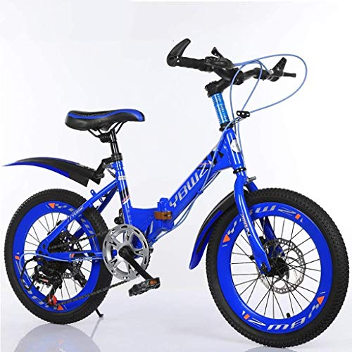 NJYT Kinderfahrrad, 18/20/22 Zoll Leichte Klappräder, Variable Geschwindigkeit Und Stoßfeste Mountainbikes, Kleine Tragbare Fahrräder Für Jungen Und Mädchen, 2 Farben(Color:Blau,Size:18in)