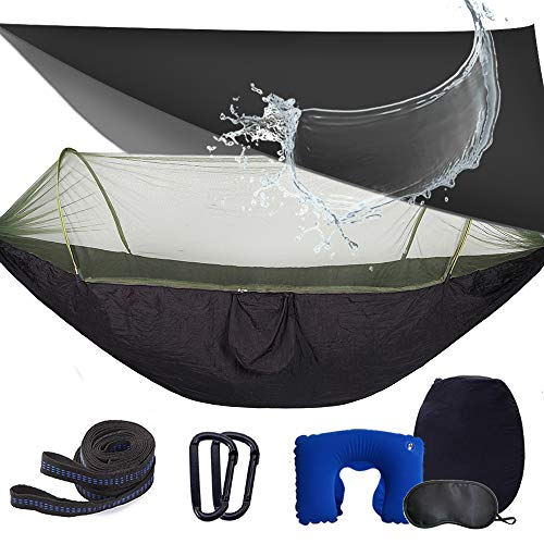 Camping Hammock with Rain Fly and Bug Net,Packable Travel Hammock with Tree Straps and Carabiners,Double Hammock Tents for Camping,Outdoor,Survival&More(Black)