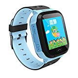 Q528 Kids GPS Tracker Watch Kids Smart Watch with Flash Light 1.44' Touch Screen SOS Call Location Finder Device Tracker Kid Safe Anti Lost Monitor Watch (BLUE)
