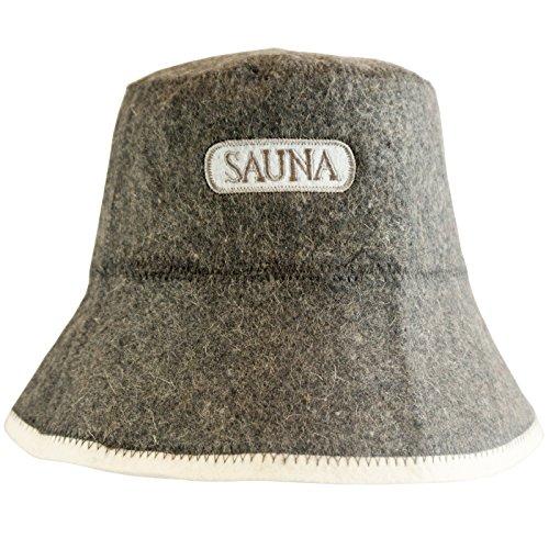 Saunahut - Modell mit Aufschrift - Sauna - 100% Baumwolle - Saunamütze aus Filz für Damen und Herren