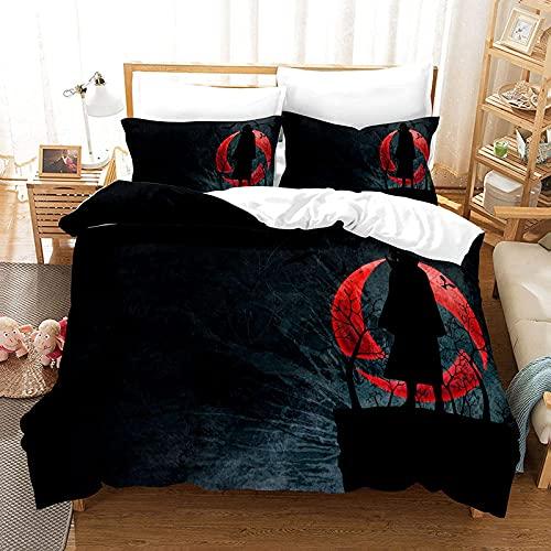BMKJ Juego de ropa de cama infantil Naruto Anime de microfibra, juego de 3 piezas, impresión digital 3D, ropa de cama para niños, jóvenes, adolescentes (3TLG.200X200+2 * 50X75cm,E)