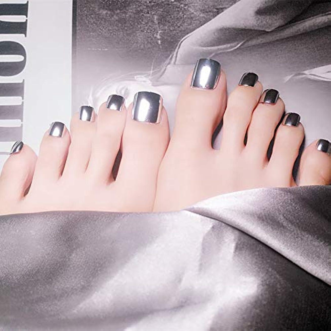 必要哲学謙虚な足用 手作りネイルチップ 欧米で流行るパンク風付け爪 24枚付け爪 フラットヘッド 銀 海辺