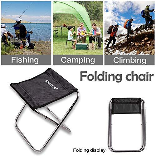 Kitabetty Mini Tragbarer Klappstuhl, C5 Aluminium Klappstuhl Outdoor Für Angeln Camping Picknick Klettern Hocker Tuch Tasche.