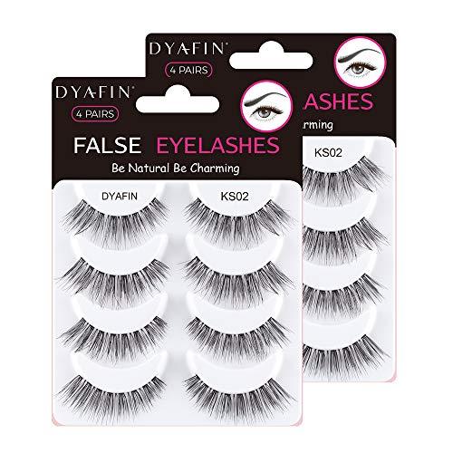 DYAFIN 3D Falsche Wimpern, Multipack Künstliche Wimpern Handgemachte Leichte Wimpern Natürliche Suchen Full Cover Kein Kleber, Geeignet für die Arbeit/Dating/Party