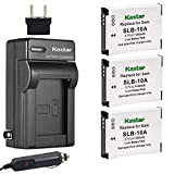 Kastar Battery (X3) & Travel Charger Kit for Samsung SLB-10A, EA-SLB10A and Samsung EX2F HZ15W SL202 SL420 SL620 SL820 WB150F WB250 WB250F WB350F WB750 W800 WB800F WB850F WB1100F Digital Camera + More