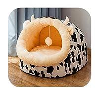 ドッグベッドハウスフォーシーズンズユニバーサルエンクローズドハウススモールドッグテディリムーバブルベッドキャットハウスウィンターウォームペット用品 -Crazy Cow-S