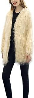 Weixinbuy Women Fluffy Faux Fur Winter Warm Solid Color Loose Long Sleeves Coat Jacket