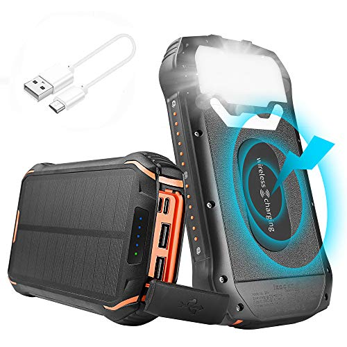 Solar Power Bank, 26800mah IP66 Waterproof Portable Solar Charger Outdoor Phone Chargers with LED Light, Huge Capacity External Solar Backup Battery for iPhone Samsung, Android Phones