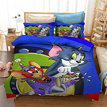 Yumhi Reversible Printing Tom and Jerry Duvet Cover Sets 2PCS Bedding Set with Zipper Closure,Twin  No Comforter