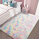 AROGAN Girls Rug for Bedroom Kids Room 4 x 5.9 Feet Luxury Fluffy, Super Soft Rainbow Area Rugs Cute Colorful Carpet for Nursery Toddler Home