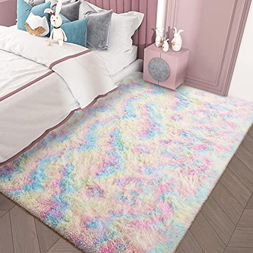 AROGAN Girls Rug for Bedroom Kids Room 3 x 5 Feet Luxury Fluffy, Super Soft Rainbow Area Rugs Cute Colorful Carpet for Nursery Toddler Home