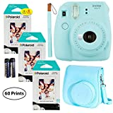 Fujifilm Instax Mini 9 Instant Camera (Ice Blue),6 x Packs 10 Prints Instant Film (60 Sheets) and Fuji Groovy Case (Blue) Bundle