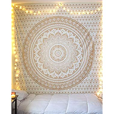 Golden Ombre Tapestry   Gold Tapestry Ombre Bedding Mandala Tapestry Multi Color Indian Mandala Wall Art Hippie Wall Hanging (Gold, 85x55 Inch)