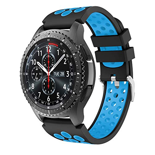 CSVK Kompatibel mit Armband Gear S3 Frontier/Classic 22mm Ersatz Uhrenarmband Silikon Sportarmband for Galaxy Watch 46mm/Moto 360 2nd Gen 46mm(schwarz-blau)