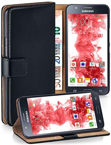 moex Klapphülle kompatibel mit Samsung Galaxy J5 (2015) Hülle klappbar, Handyhülle mit Kartenfach, 360 Grad Flip Case, Vegan Leder Handytasche, Schwarz