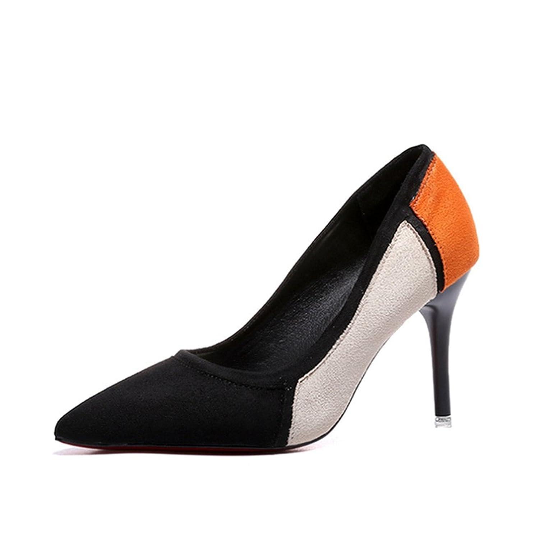 【トブイ】レディース パンプス ピンヒール ハイヒール ポインテッドトゥ カラーブロック スエード アーモンドトゥ レディース シューズ パンプス ヒール8cm イエロー 黒 レッド 美脚 靴 痛くない