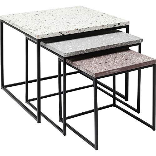 Kare Design Beistelltisch Terrazzo Square (3/Set), 48 x 48 cm