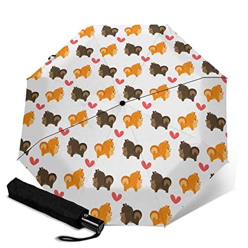 ポメラニアンとハート 折りたたみ傘 折り畳み日傘 ワンタッチ 自動開閉 晴雨兼用 持ち運びに便利 完全遮光 紫外線遮断 耐強風 超撥水 梅雨対策 折れない傘 男女兼用