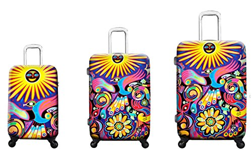 Luggage Sets Suitcases Carry-Ons by Heys - Premium Designer Hardside Luggage Set 3 pcs. - Heys Artist Limon Under The Sun Hand Luggage+ Trolley with 4 Wheels Medium + Trolley with 4 Wheels Large