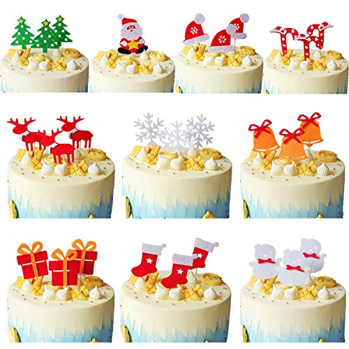 Olywee 28 Pieces Christmas Cupcake Toppers Set - Santa Claus, Christmas Hat, Stockings, Bells, Crutches, Snowman, Gift, Christmas Tree, Snowflake and Deer for Cake(10 Patterns)