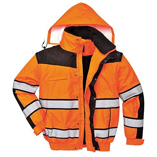 4in1 Warnschutzjacke Regenjacke Winterjacke Arbeitsjacke orange Gr. L