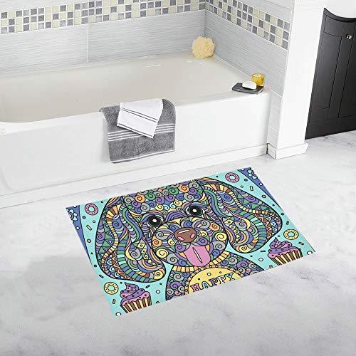 LMFshop Netter Welpen-Gruß-Karten Rutschfester Bad-Matten-Teppich-Bad-Fußmatten-Boden-Teppich für Badezimmer 20 x 32 Zoll