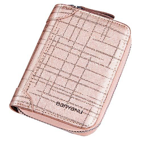Faneam Multi-Ranuras Tarjetas de Crédito Cuero Tarjeteros para Mujer Titular de la Tarjeta Corta de Las Señoras RFID Monederos con Cremallera Billetera (Rosa)