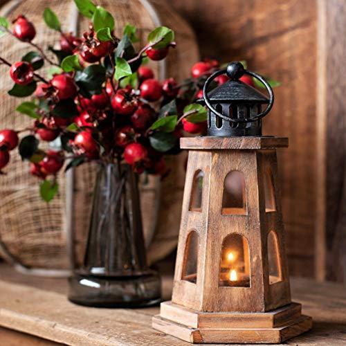 Mobestech Houten Kandelaar Vuurtoren Theelichthouder Kaars Lantaarn Decoratieve Tafellamp Voor Thuis Bruiloft Tuin Decor
