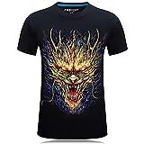 LYWZX Camisetas Hombre Camiseta 3D De Manga Corta para Hombre Personalizada con Cuello Redondo Camiseta De Dragón De Gran Tamaño Camiseta con Impresión 3D-Black XL