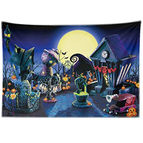 Allenjoy 7x5ft Durable Fabric Nightmare Before Christmas Backdrop Halloween Pumpkin Jack Lantern Haunted House Photograhy Background Birthday Baby Shower Wedding Party Supplies Decoration Photo Booth