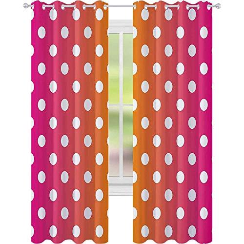 Cortina de aislamiento oscurecida con ojales, lunares blancos sobre fondo de colores vibrantes, arte pop arte clásico de azulejos de 52 x 63 para sala de estar, rosa, naranja y blanco
