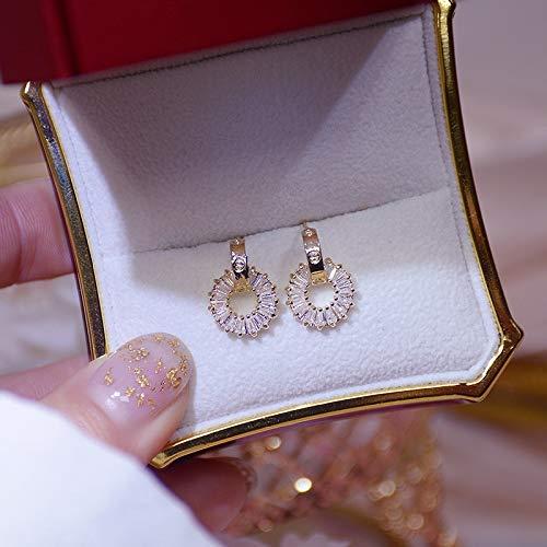 xingguang Pendientes de plata de ley de 14 quilates de oro real de lujo diminuto pendiente redondo de circonita, antialérgico, colgante de joyería de círculo (color de la gema: oro)
