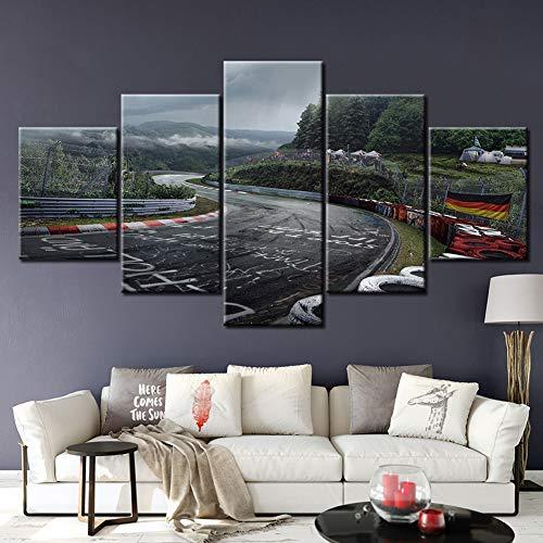 SFXYJ 5 Piezas de Arte de Pared - Impresión Lienzo Pintura - Cartel de Nurburgring Rally Road Impresión de Lienzo - Wall Sticker Paintings - HD Escena Pared Arte Pintura,A,30×40x2+30×60x2+30x80×1