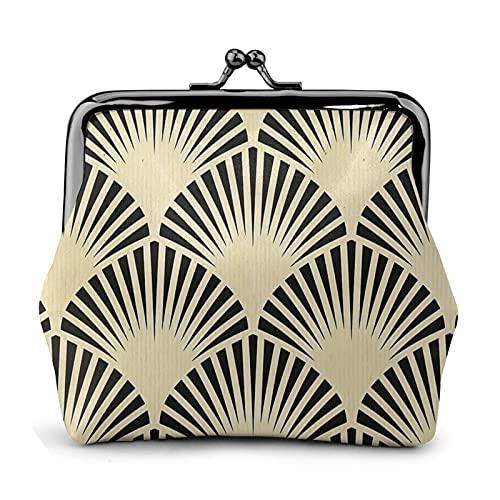 Porte-monnaie en cuir PU pour femme - Style Art déco - Noir et beige - Motif éventail rustique - Élégant et chic