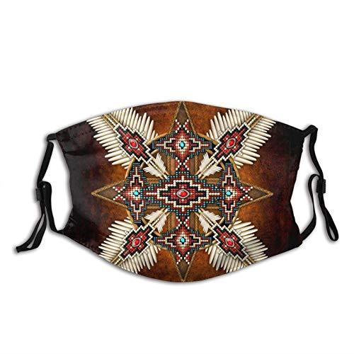 135 Masque facial amérindien M-A-S-K réutilisable et lavable pour homme/femme avec 2 filtres, Croix de perles amérindiennes, taille unique