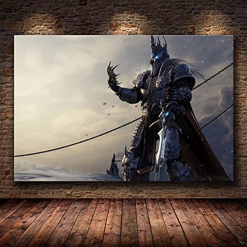 Yiwuyishi Póster de decoración de Pintura de The World of Warcraft 8.0 Mapa en Lienzo de Alta definición Pintura de Pared Decoración de Arte en Lienzo 50x70cm P-80