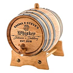 Handcrafted American White Oak Wood Barrel | Laser Engraved Black Steel Hoops | Medium Charred Interior | 1 Liter American Oak Aging Barrel | Barrel Capacity is an approximate Perfect to age your own spirits, whiskey, wine, beer, rum, tequila, honey,...