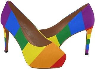 InterestPrint Rainbow Women's Sexy High Heels Pump Shoes