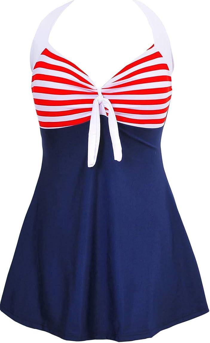 Ocean Plus Femme /Ét/é R/étro Halter de Cou A-Line Maillot Une Pi/èce /À Rayures Jupe avec Shorts Grande Taille Beachwear