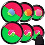 ELCOHO Toss and Catch Sports Game Set and 3 Size Adjustable Self-Stick Paddles and Toss Ball Sports with Storage Bag for Outdoor Activities, 6 Paddles and 6 Balls