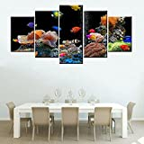 5 Piece Canvas Vivid Acuario Coral Peces De Colores Cartel Pantalla Panel De Pared Impresión Lienzo Arte Pared Dormitorio Decoración Sin Marco