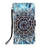 Nadoli Leder Hülle für Huawei P Smart 2020,Bunt Mandala Blumen Malerei Ultra Dünne Magnetverschluss Standfunktion Handyhülle Tasche Brieftasche Etui Schutzhülle