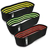Tribe Lifting Resistance Hip Bands | Leg Band for Hip Work Out or Physical Therapy | Resistance Loops, Non-Slip Elastic Grippy Inner Layer | Men and Women | Black (12.5-inch, 3-Pack)