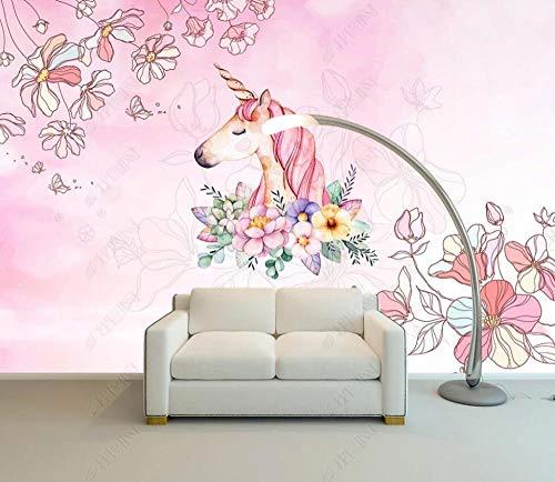 Wallpaper 3D Wall Murals Watercolor Floral Unicorn Wallpaper Wall Mural Living Room Bedroom Tv Background Wall Mural Decoration Art 400cmx280cm