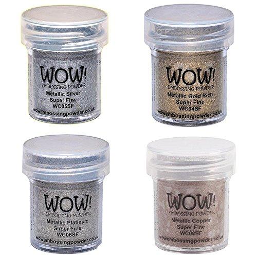 Wow! Embossing Powder Super Fine Metallic Bundle: Gold, Silver, Platinum and Copper, 15ml (1)