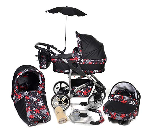 Twing, 3-in-1 Travel System with Baby Pram, Car Seat, Pushchair & Accessories (3in1 Travel System -Baby tub, Sport seat, Car seat, Black & Small Flowers)