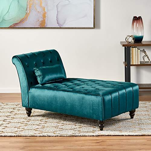Christopher Knight Home Rubie Velvet Chaise Lounge, Dark Teal