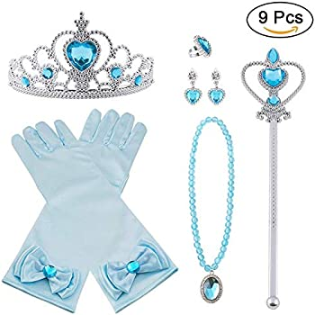 Princess Tiara Vicloon Elsa Dress Up Accessories Set of 8 ,Ring Elsa Gloves