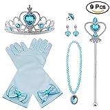 Vicloon 9 PCS Nuovi Accessori per Vestire Principessa con Diadema, Guanti, Bacchetta Magica, Orecchini, Anello, Collana per Ragazze di 3-10 Anni(Blu)