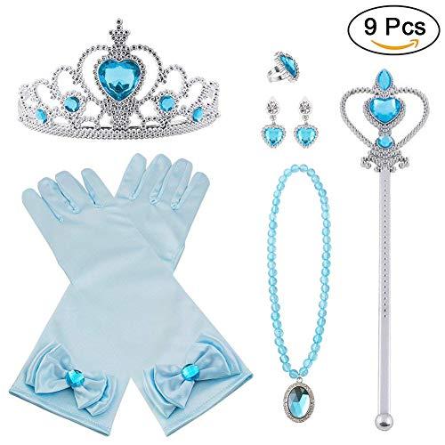 Vicloon Prinzessin Kostüme Eisprinzessin Set of 9, ELSA Handschuhe, Pfirsichherz Krone , Zauberstab, Halskette, Ring, Ohrring.(Blau)